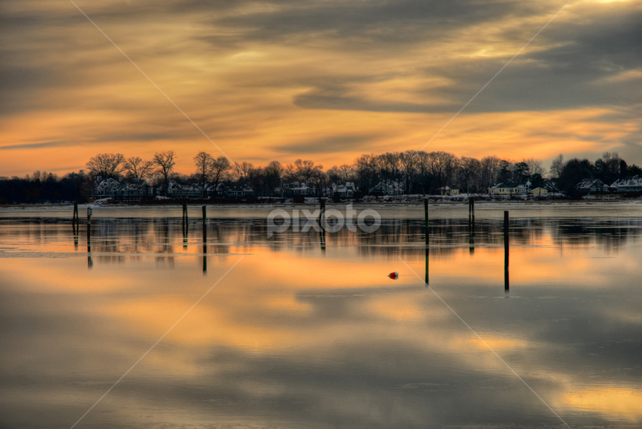 Double Take by Fran McMullen - Landscapes Sunsets & Sunrises ( water, sky, branfordpoint, reflections, sunrise, sunlight )