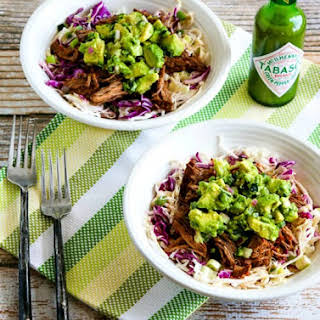 Slow Cooker (or Pressure Cooker) Green Chile Shredded Beef Cabbage Bowl with Avocado Salsa.