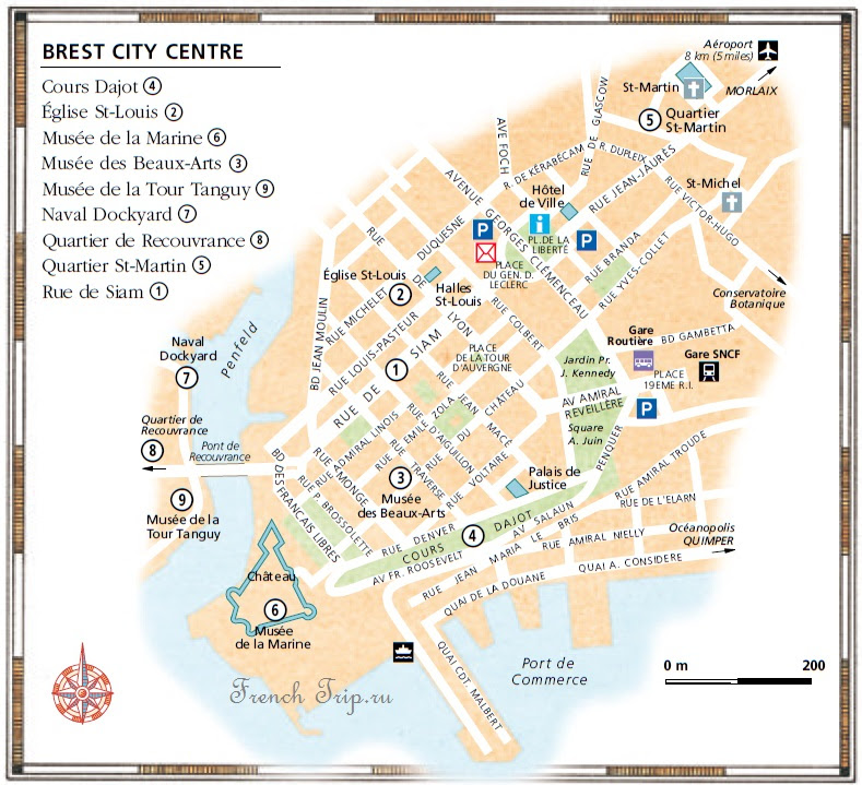Карта города Брест с отмеченными достопримечательностями, что посмотреть в Бресте, путеводитель по Бресту, карта Бреста с отмеченными достопримечательностями, достопримечательности Бреста на карте города