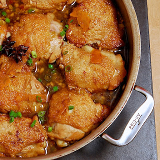 Soy Braised Chicken Thighs with Star Anise and Orange Peel