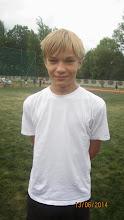 Photo: Olek Jakubik z klasy 4a, najlepszy czwartoklasista, rzucił ponad 45 m.