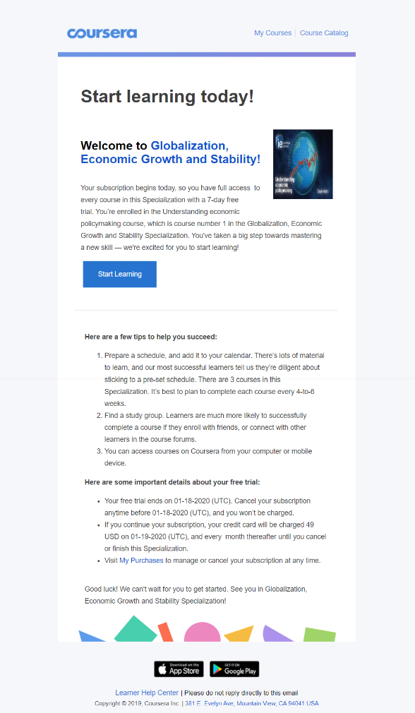 Coursera email campaign