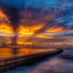 Breaking on the Breakers 2 by John Chitty - Landscapes Sunsets & Sunrises ( jetties, corpus christi, texas, beach, sunrise, breakers, landscape,  )