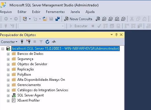 Tela principal do SQL Server com menu de opções Windows acima padrão (Arquivo, Editar, Exibir, Ferramentas, Janela e Ajuda) e com as opções de gerenciamento de Banco principais e SQL Server Agent.