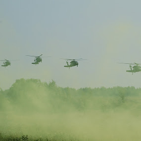 Inbound by Jim Greene - Transportation Helicopters ( training, army, helicoptors, choppers, military )