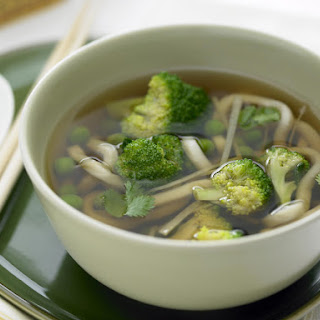Green Tea Broth with Broccoli and Noodles.
