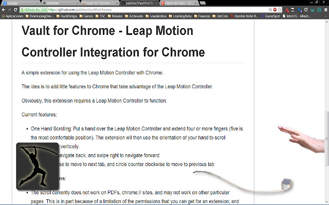 Vault for Chrome - Leap Motion Integration