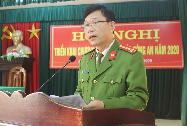 Đồng chí Đại tá Lê Văn Thái, Trưởng Công an huyện Hưng Nguyên phát biểu khai mạc Hội nghị
