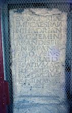 Photo: Translation of the Pierre de Chagnon:  By authority of Caesar Trajanus Hadrianus Augustus nobody has the right to work, to sow or to plant in this area which is earmarked for the protection of the aqueduct