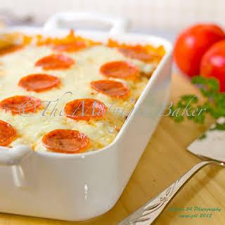 Easy Cheesy Pizza Casserole.