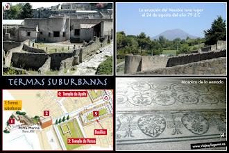 Photo: 2: Las <b>Termas suburbanas</b>, también llamadas las Termas del Placer por sus dibujos eróticos, eran de propiedad particular y se edificaron en las afueras de Pompeya. El camino empredrado lleva a la entrada de la ciudad por la <b>Puerta Marina</b>.