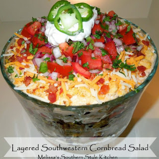 Layered Southwestern Cornbread Salad.
