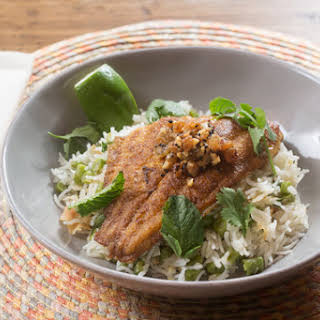 Curried Catfish & Coconut Rice with Green Beans & Golden Raisin Chutney.