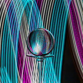 Waves of color by Tammy Scott - Artistic Objects Glass ( black background, light painting, purple, wine glass, long exposure, teal, crystal, longexposure )