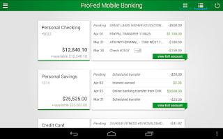 Screenshot of ProFed Online Mobile Banking