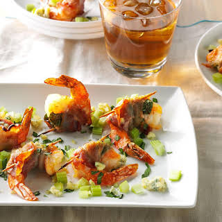 Bacon-Wrapped Blue Cheese Shrimp.