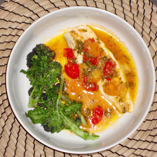 Pan Fried Sea Bass with Cherry Tomato, Wine and Thyme Sauce Recipe