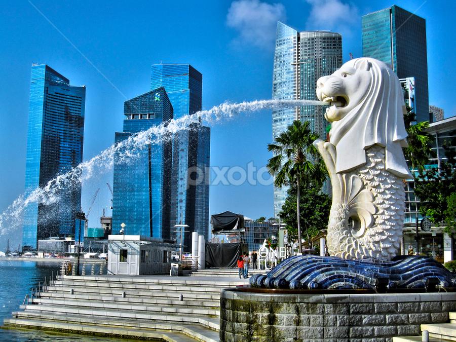 Merlion Park - Singapore by Fabio Ferraro - Travel Locations Landmarks ( statue, park, merlion, merlion park, singapore )
