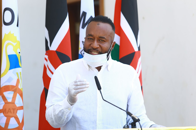 Mombasa Governor Hassan Joho during the hand over of 10 ventilators. He confirmed a patient died in Mombasa over coronavirus. APRIL 2/2020