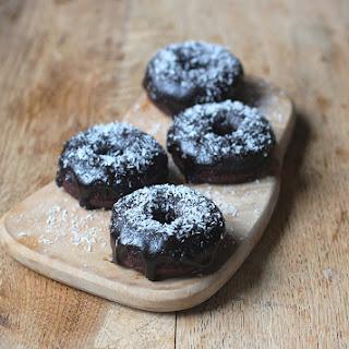 Chocolate Coconut Fudge Donuts.