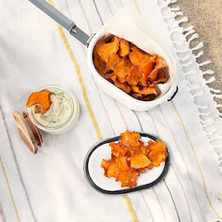 Sweet Potato Chips with White Bean and Basil Dip.