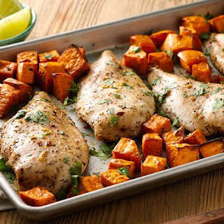 Jerk Chicken with Sweet Potatoes Sheet-Pan Dinner.