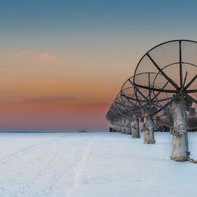 E.T. Phone Home by Tim Delmoitie - Landscapes Sunsets & Sunrises ( satellite, sigma 17-50mm f/2.8, snow, sundown, d500, satellite dishes, belgium, nikon )