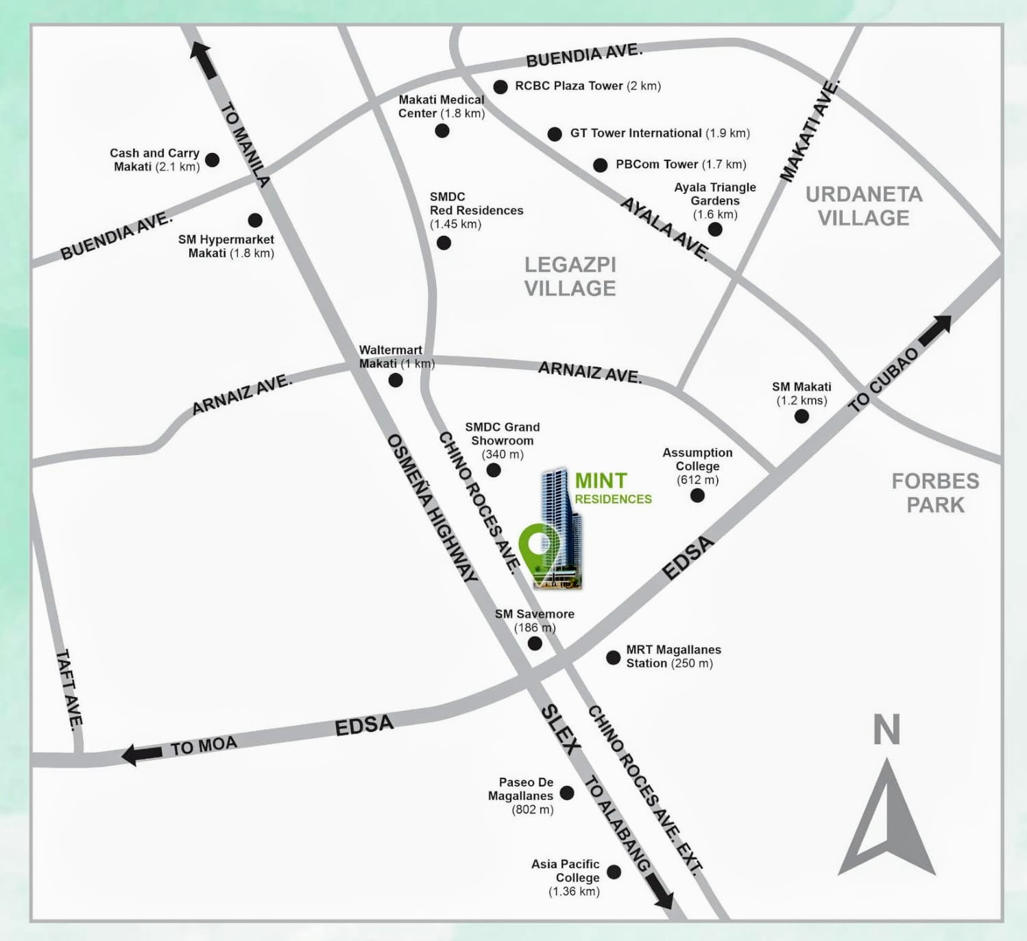 Mint Residences, Chino Roces Makati location map