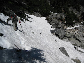 Photo: Another steep traverse.  We dug our fingers and poles into the snow and walked very carefully