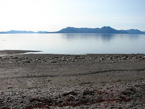 Photo: The beach at Point Higgins looking across the northern arm of Behm Canal to the Cleveland Peninsula and Caamano Point.