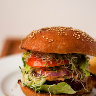 Beetroot and Chickpea Burgers.