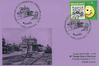 Photo: Tarjeta del matasellos del 125 aniversario de la llegada del primer tren a Avilés