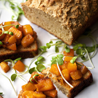 Fried Rosemary Beer Bread w/ Maple Chili Roasted Butternut Squash