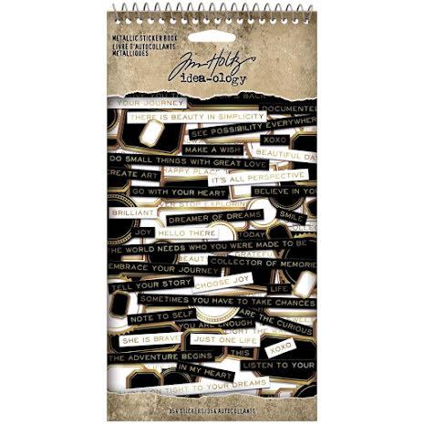 Tim Holtz Idea-Ology Spiral Bound Sticker Book 4.5X8.5 - Metallic