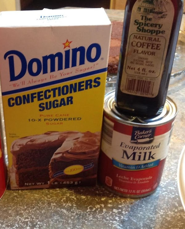 Then add in the vanilla, coffee extract, & powdered sugar. Using slow speed ...