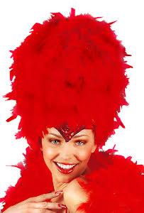 Carneval fjäderhatt, röd