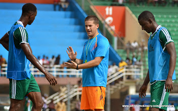 Photo: Coach McKinstry speaking with Khalifa Jabbie and Sulaiman Sesay  [Training Camp ahead of Leone Stars v Swaziland Game on 31 May 2014 (Pic: Darren McKinstry)]