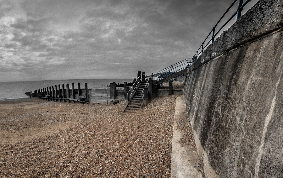 Channel Storm Approaching, Eastbourne, Sussex by Phil Clarkstone - Landscapes Weather ( groynes, summer, foreboding, grey, pebbles, shingle, sea wall, gray, panorama )