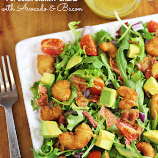 Popcorn Shrimp Salad with Avocado and Bacon.