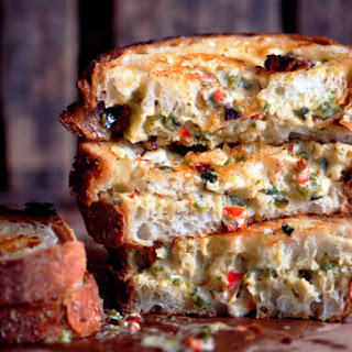 Grilled Chili-Cheese Spread Sandwiches.