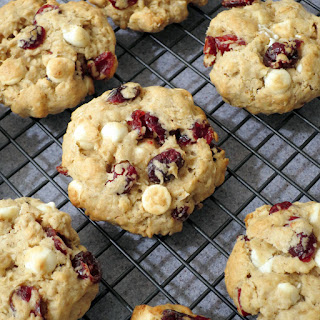 Oatmeal Cookies with Cranberries and White Chocolate.