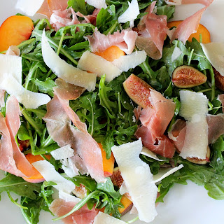 Arugula Salad with Figs, Fresh Peaches, Prosciutto, Parmesan, and Truffle Oil