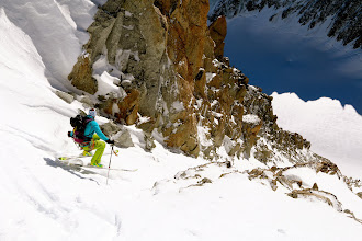 Photo: First turns in the narrow couloir