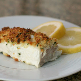 Baked Halibut and Parmesan Crumb Topping.