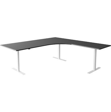Hörnskrivbord el vit/grå 1800/