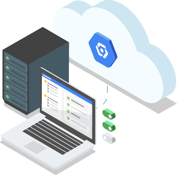 Illustration of an open laptop and server stack networked to the cloud