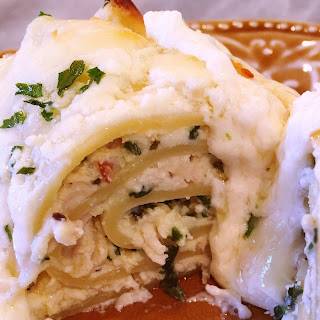 Spinach Chicken Alfredo Lasagna Roll Ups.
