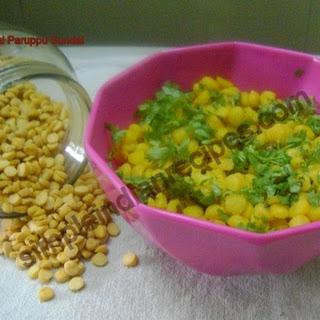 (Channa Dal Sundal, Bengal Gram Salad, Kadalai Paruppu Chundal).