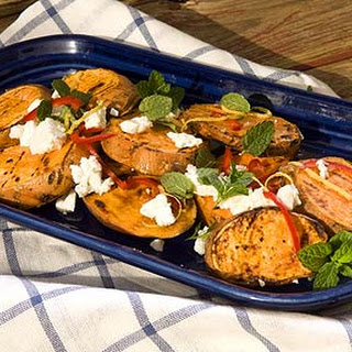 Grilled Sweet Potatoes With Lemon Zest, Mint And Feta.