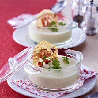 Cream of Celeriac Soup with Pancetta Chips